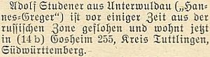 Zpráva krajanského časopisu o útěku Adolfa Studenera (Hannes-Greger) z ruské zóny     do jižního Württemberska, než se v roce 1956 srodinou trvale usadil v Bavorsku