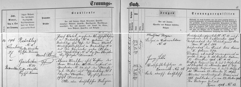 Záznam dolnovltavické oddací matriky o svatbě jejích rodičů