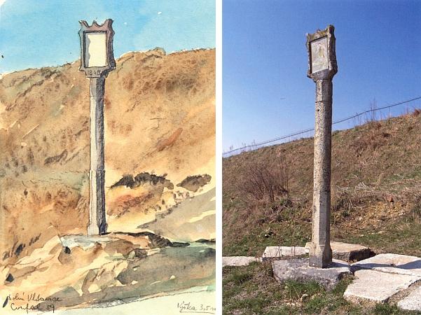 Tzv. Florianova boží muka v Dolní Vltavici na kresbě Bohuslava Coufala z roku 1959 a na barevném snímku z roku 2007