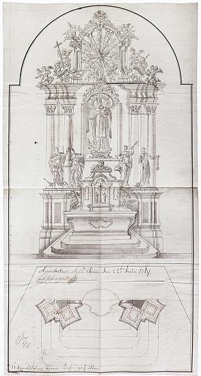 Aprobovaný návrh hlavního oltáře sv. Linharta vDolní Vltavici z roku 1769, jak ho předložili knížecímu schválení Martin Leyer aJoseph Griessler