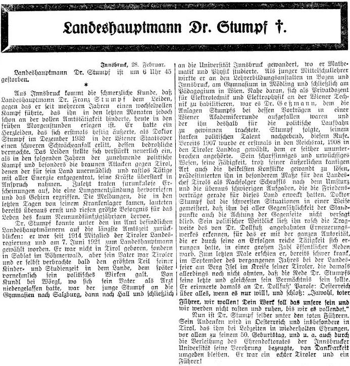 Nekrolog na stránkách rakouského tisku