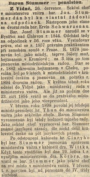 O jeho odchodu do důchodu informovaly Národní listy na první straně svého odpoledníhovydáníschybou v datu narození