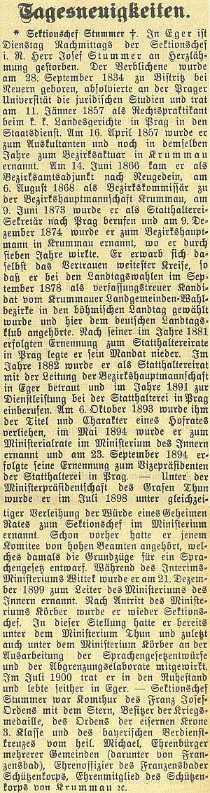 Nekrolog v českobudějovickém německém listu
