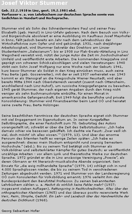 Jeho životopis na stránkách věnovaných hornorakouským spisovatelům v databázi StifterHaus.at