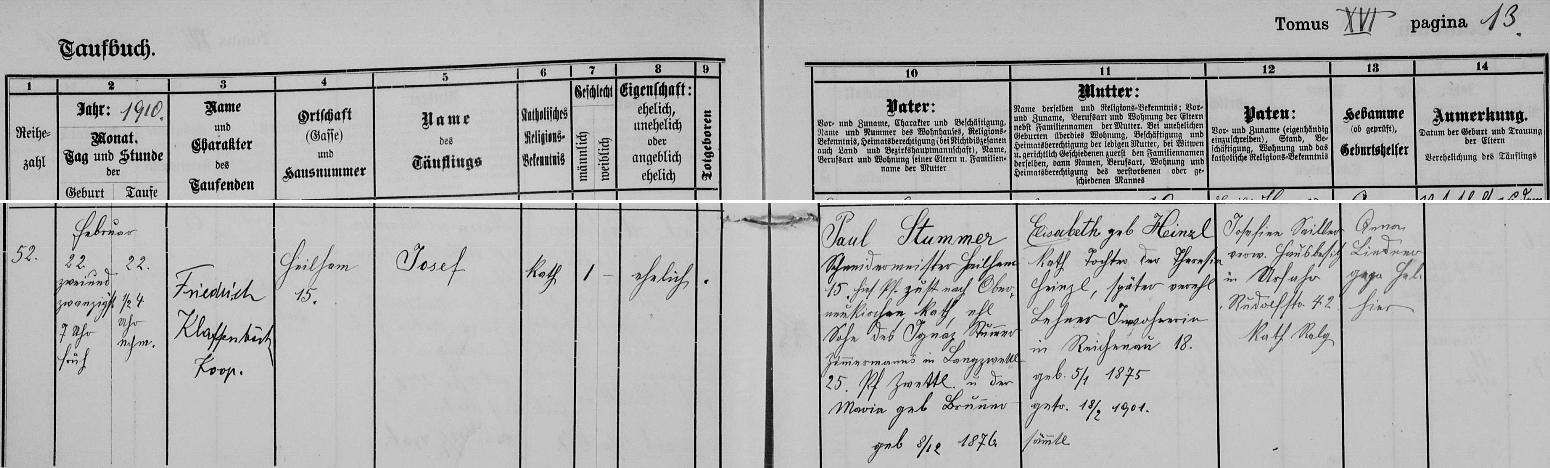 Záznam o jeho narození v urfahrské křestní matrice