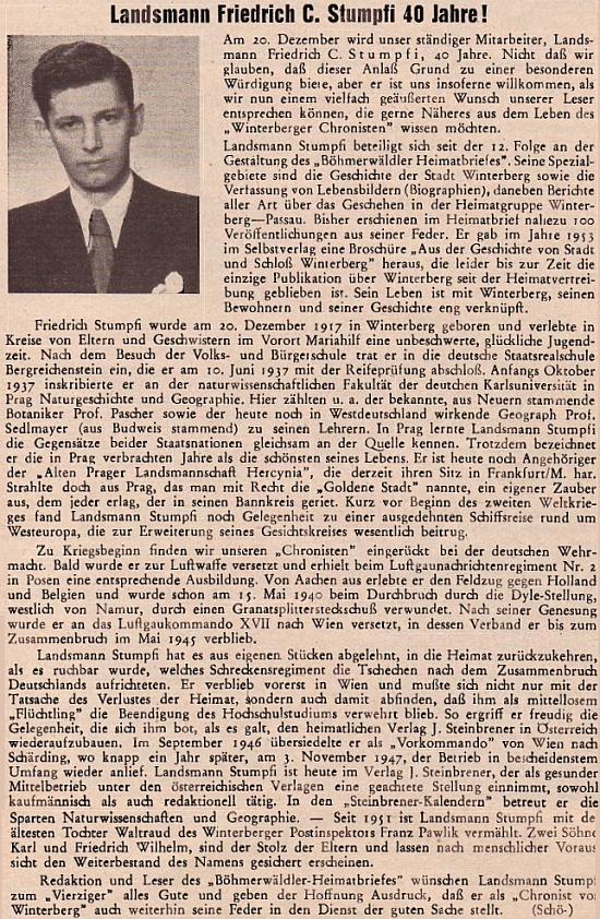 Text k jeho čtyřicátinám v krajanském časopise
