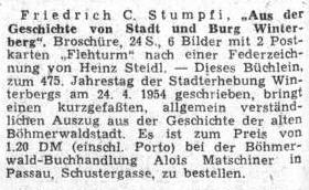 Inzerát na jeho brožuru o Vimperku se objevil na stránkách ústředního listu vyhnaných krajanů v březnu 1954