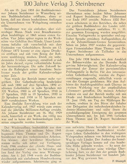 Ke stému výročí Steinbrenerovy proslulé vimperské firmy napsal tento článek do krajanského měsíčníku