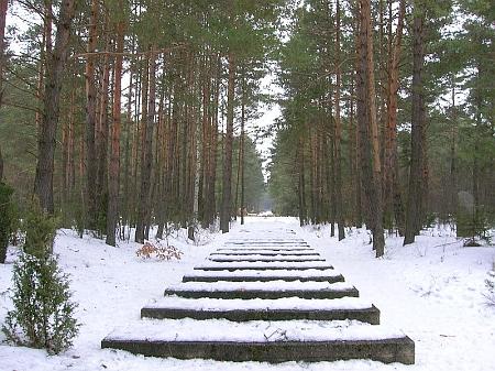 Symbolické betonové bloky vyznačují trasu železniční trati v koncentračním táboře Treblinka