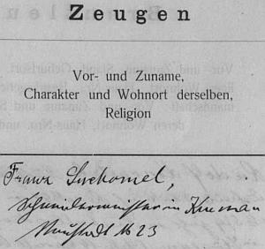 Otcův podpis z českokrumlovské oddací matriky, kde figuruje jako svědek jedné zdejší svatby v září roku 1918