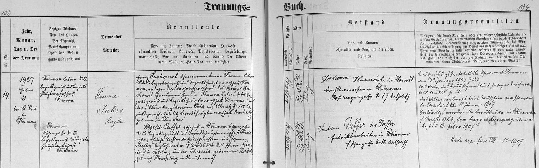 Záznam českokrumlovské oddací matriky o svatbě jeho rodičů v roce 1907