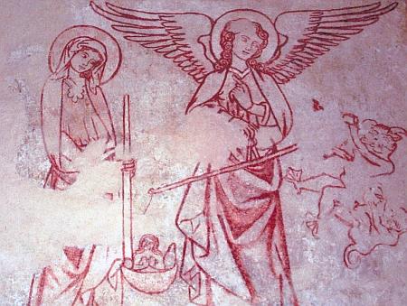 """Freska z Mouřence s archandělem Michaelem jako """"važičem duší"""" a Pannou Marií jako přímluvkyní za nás hříšné"""