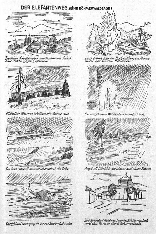 V roce 1954 přinesla dětská příloha listu Sudetendeutsche Zeitung tuto šumavskou pověst v kresbách Rudiho Zubera, která vysvětluje původ místního jména Sloní údolí