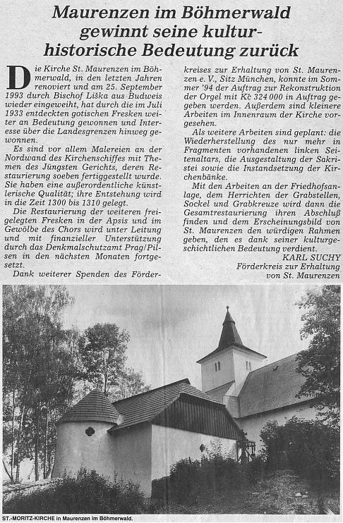 Jeho článek v oficiálním orgánu krajanského sdružení k obnově kostela v Mouřenci