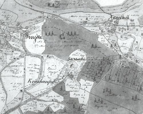 """Mouřenec (zde """"Sct. Moritz"""") na vojenské mapě z roku 1837"""
