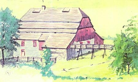 Někdejší papírna v Kundraticích na Radešovském potoce, jak ji zachytila v roce 1934 už přestavěnou na dnes zaniklý mlýn kresba Františka Zumana