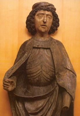 Svatý Mořic z Mouřence, dřevěná plastika z konce 15. století