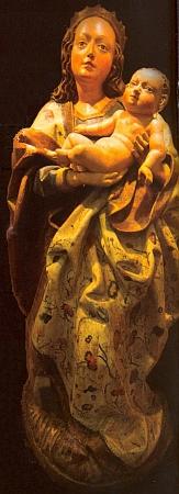 Madona na srpu měsíce, dnes v Muzeu Šumavy v Kašperských Horách, dříve vkostele v Mouřenci