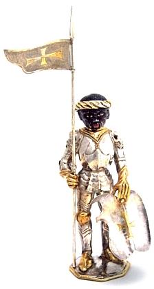 Stříbrná soška sv. Mauritia z doby kolem roku 1480 uchovaná v klášteře Medingen, místní části dolnosaského lázeňského městečka Bad Bevensen