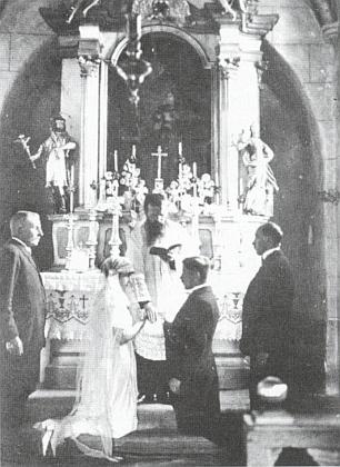 Katolická svatba Josefiny Meisterové, dcery Hermanna Meistera (1866-1943), v roce 1912