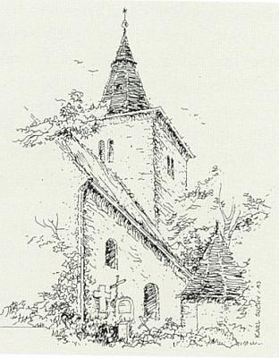 Kostel v Mouřenci, jak ho Karl Suchy nakreslil vroce 1993