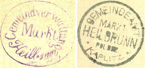 Úřední razítka Hojné Vody z konce 19. století