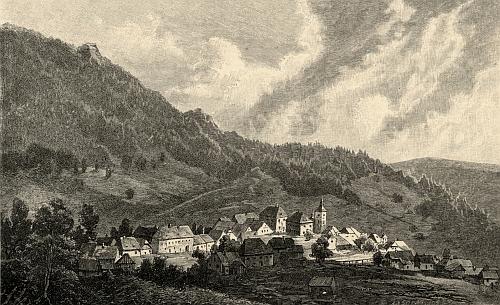 Hojná Voda na ilustraci Vojtěcha Brechlera z konce 19. století pro Ottovu edici Čechy