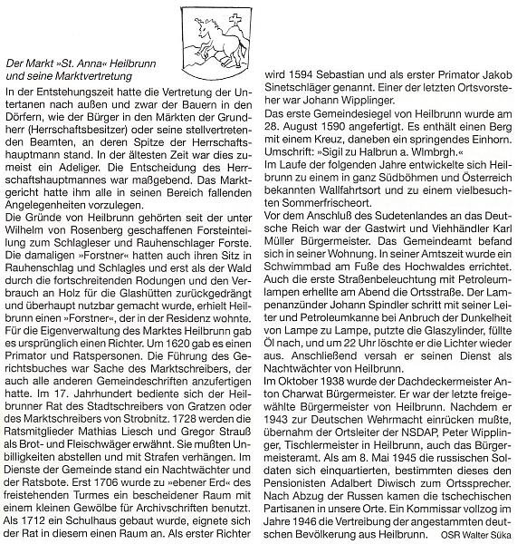 Článek o Hojné Vodě a jejím obecním zastupitelstvu, pod kterým je podepsán s titulem vrchní školní rada (OSR), doprovodil kresbou hojnovodského znaku s bájným jednorožcem a křížem na vrchu