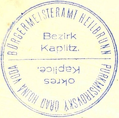 Úřední razítko Hojné Vody z roku 1933