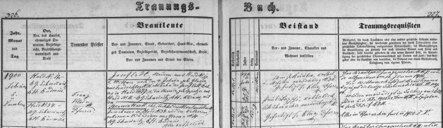 Záznam žumberské oddací matriky o druhé svatbě Josefa Erdla ze stavení čp. 17 v Haidu (Pěčín)