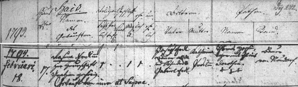 """Stránka žumberské matriky se záznamem o narození a křtu Rosiny """"Erdlin"""" v únoru roku 1794 na """"haidském"""" stavení čp. 17"""