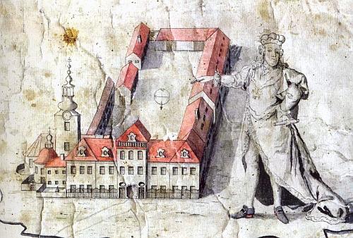 Zámek v Borovanech na kresbě Petra Kašpara Světeckého z roku 1780