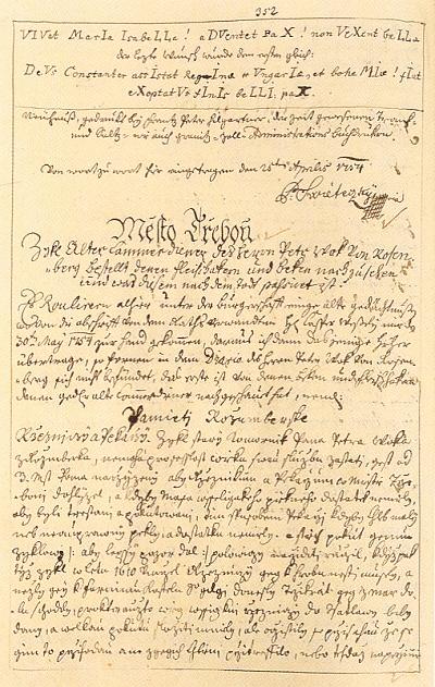 Ukázka z rukopisů Třeboňských pamětí i s jeho autogramem
