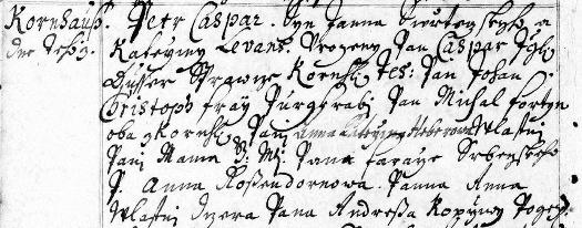 """Titulní list """"Matriculy B aneb Trojí knihy fary Srbečské a přivtělených kostelů Kornhauského a Velkohorešovského"""" a český záznam v ní o jeho narození v""""Kornhausu"""" - Petr Caspar je tu psán jako """"syn panna Swětezskyho aKathariny"""", dále je uveden novorozencův kmotr (latinsky Levans) asvědkové (latinsky Testes)"""