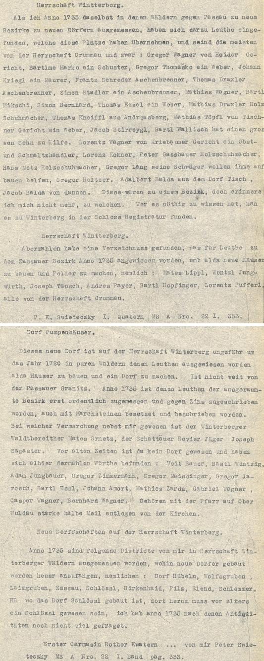 Dva opisy pasáží, týkajících se panství Vimperk, z jeho kvatern, nalezené náhodou, jak byly založeny někdejším majitelem mezi listy jedné z knih regionálního fondu Jihočeské vědecké knihovny