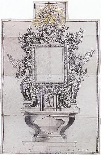 Variantní návrh bočního oltáře kostela v Brloze z července 1757 (tedy až po jeho svatbě), který byl sice přijatý, oltář se však nedochoval