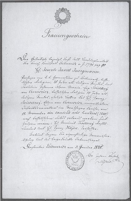 Opis oddacího listu manželů Jungmannových z roku 1848 (svatbu měli v roce 1800)