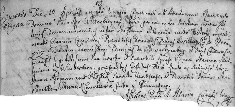 Záznam o jeho svatbě v Brloze (je ve farní matrice psán celý latinsky) uvádí i jeho zaměstnání knížecího schwarzenberského geometra a původ jeho ženy z Vimperka
