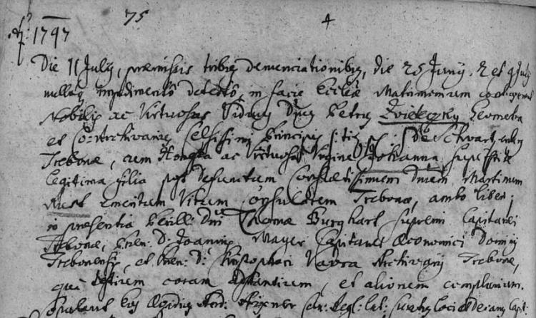 Latinský zápis o jeho druhé svatbě v Třeboni s Johannou, roz. Rustovou, 11. července roku 1747