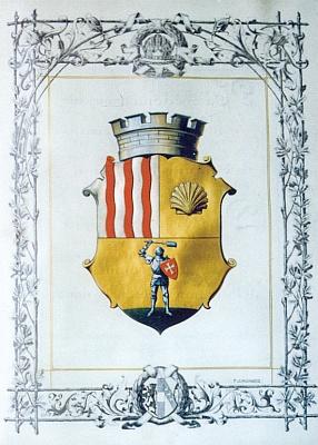 Znak města Hluboká nad Vltavou zlistiny císaře Františka Josefa I., datované 20.května 1908, kterou byla Hluboká povýšena na město