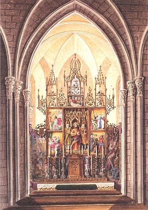 Novogotický oltář hlubocké zámecké kaple, před nímž byla mj. oddána i moje dcera Adéla, na akvarelu Karla Zenkera z roku 1870