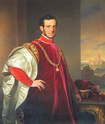 """Kníže Jan Adolf II., nazývaný také """"králem jižních Čech"""", stejně jako jedna """"z nejkrásnějších žen"""" své doby, jeho choť Eleonora, roz. z Liechtensteina, na portrétech Franze Schrotzberga z roku 1848 (viz i Anonym zVimperka v Čechách)"""