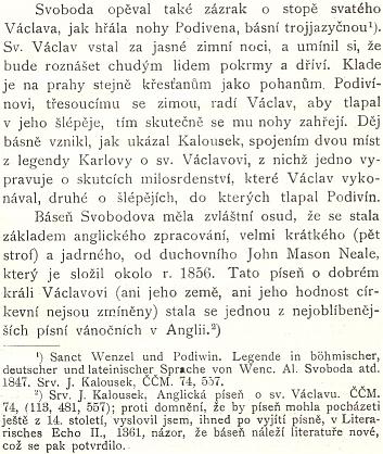 """O Svobodově básni, která se stala podkladem jedné znejznámnějších anglických a světových koled, píše Arnošt Kraus ve svém díle """"Stará historie česká v německé literatuře"""" (1902)"""
