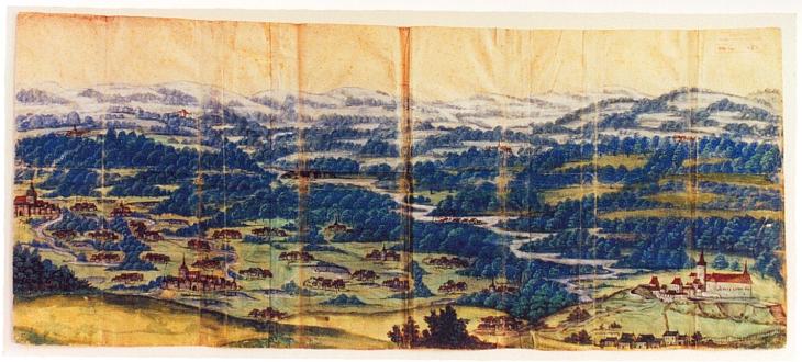 Stará mapa z půle 16. století zachycuje Hlubokou nad Vltavou s tou řekou ze Šumavy, jak k ní výrazně zachycena plyne ze sněhových pohoří za ní