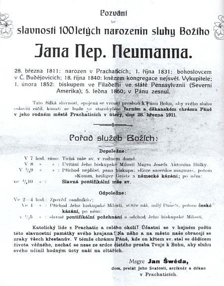 Jeho pozvánka k oslavě 100. jubilea narození Jana Nepomuka Neumanna 28. března roku 1911 v Prachaticích
