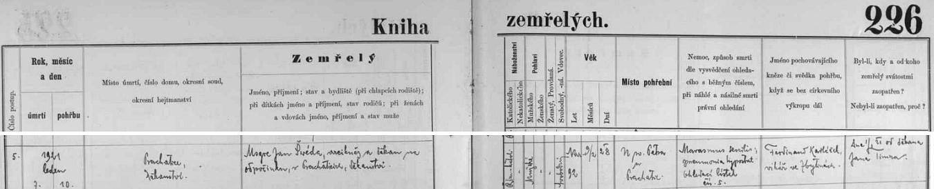 """Prachatická """"Kniha zemřelých"""" takto zaznamenává jeho skon v únoru roku 1921"""