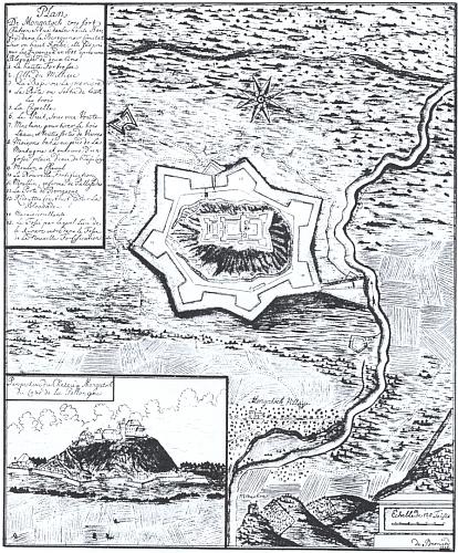 Pevnost Mukačevo na starém vyobrazení z roku 1688 v jeho knize