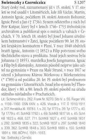 O rodu Swieteczkych z Czerniczicz ve slovníku českých šlechtických rodů z nakladatelství Argo