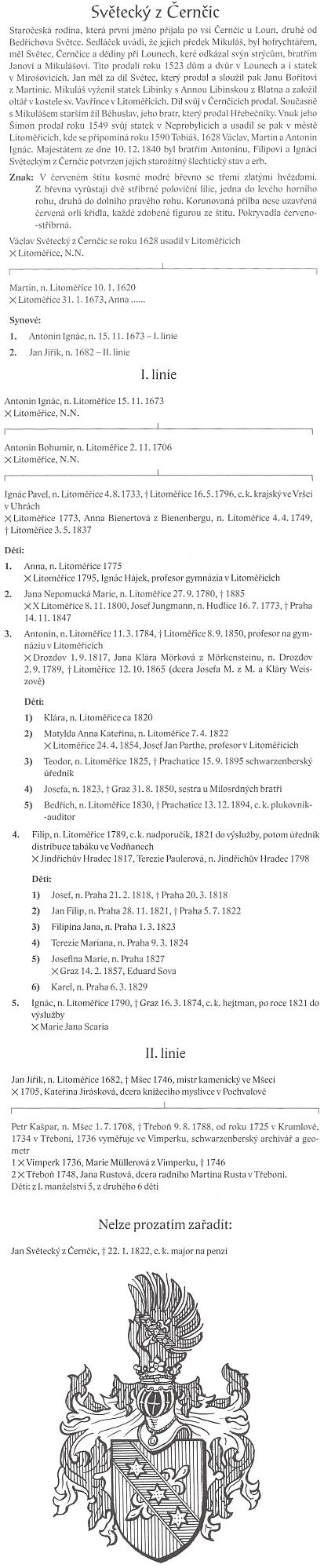 """Tyto stránky v almanachu české šlechty svědčí spíše o bezradnosti ohledně členů rodu """"z Bedřichova Světce"""""""