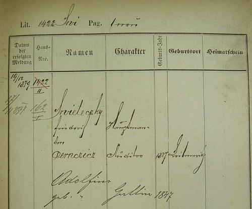 Pražská policejní přihláška jeho rodičů